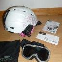 Ski-/Snowboardhelm (52-55 cm) für Mädchen mit Skibrille