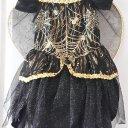 Faschingskleidchen mit Spinnen und Flügel, Größe 98/104