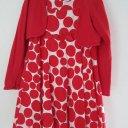 Einschulung Gr. 140 Kleid weiß rote Punkte Art Petticoat+Bolero