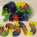 TCM Holzpuzzle Zahlen Elefant Buchstaben Schlange