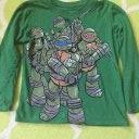 Jungen Langarmshirt 116/122 grün Turtles Longsleeve